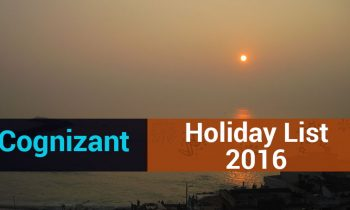 Cognizant (CTS) India – Holiday List 2016