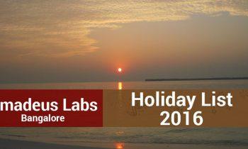 Amadeus Labs Bangalore – Holiday List 2016