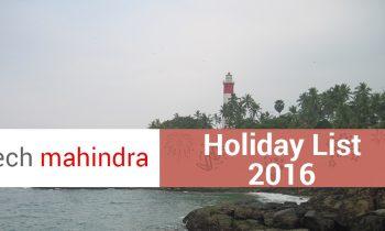 Tech Mahindra Holiday List 2016