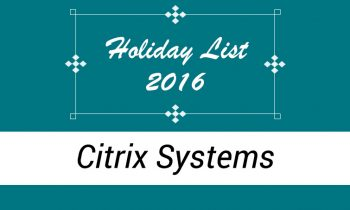 Citrix Systems India – Holiday List 2016