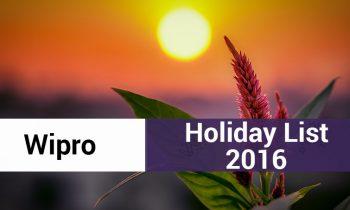Wipro India Holiday List 2016