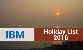 IBM Holiday List 2016