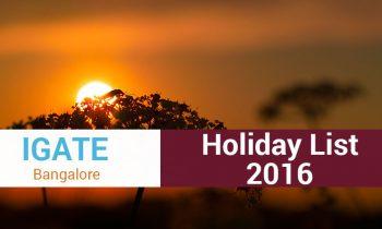 Holidays in iGate (Capgemini) Bangalore