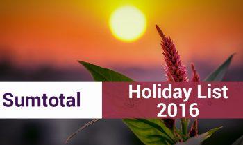 Holiday Calendar of SumTotal, Hyderabad